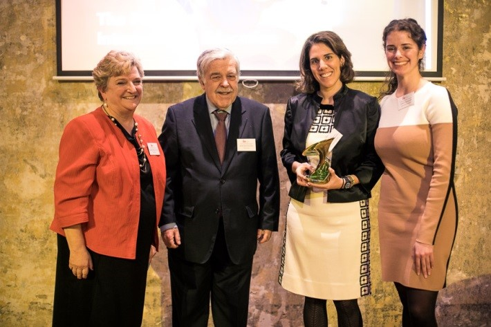 Image: IIE's Cheryl Francisconi and Greek Ambassador Dimitrios Letsios with Sarah Needham and Eva Polyzogopoulou